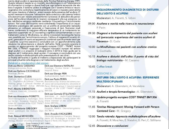 """Corso di aggiornamento ECM """"ACUFENI: esperienze multidisciplinari nell'ambito del progetto europeo COST TINNET"""""""