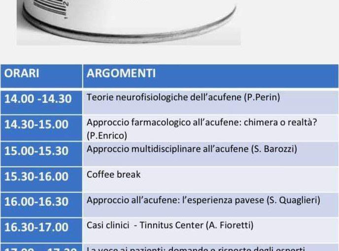 """Convegno ECM """"Acufeni: teoria e clinica"""". Pavia, 8 febbraio 2020"""